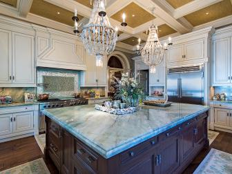Traditional Dark Brown Kitchen Island With Green Stone Countertop
