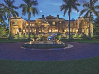 Magnificent Yellow Floridian Mansion With Tropical Landscape