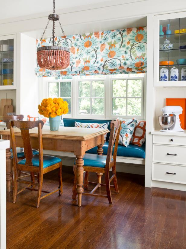 Fun Blue, Orange, and White Kitchen