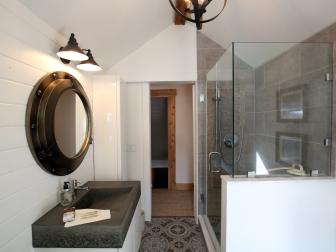 Small Modern Bathroom with Rustic Touches