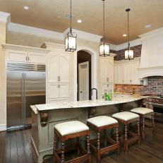 Traditional Open Plan Kitchen With Red Brick Backsplash