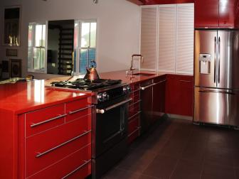 Blazing Red Cabinets & Gas Range