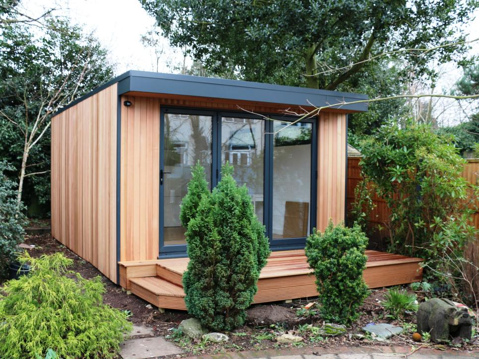 8 home offices in innovative places hgtv for Garden shed 2 rooms