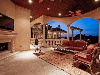 Outdoor Living Room: Lavish Mediterranean Masterpiece in Frisco, Texas