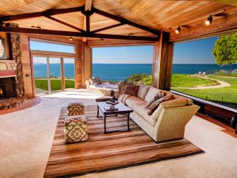 Living Room: Clifftop Mansion in Santa Barbara, Calif.