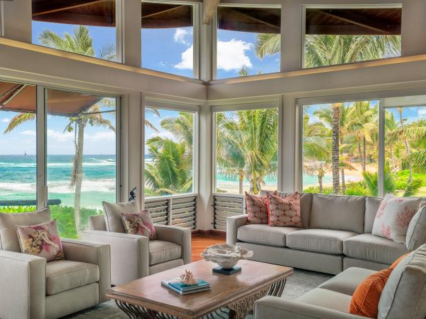 Light and Bright Tropical Living Room With Ocean View