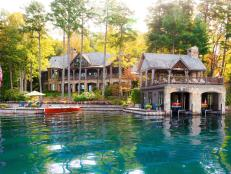Exterior and Boathouse: Luxe Lakefront Cabin in Tiger, Ga.