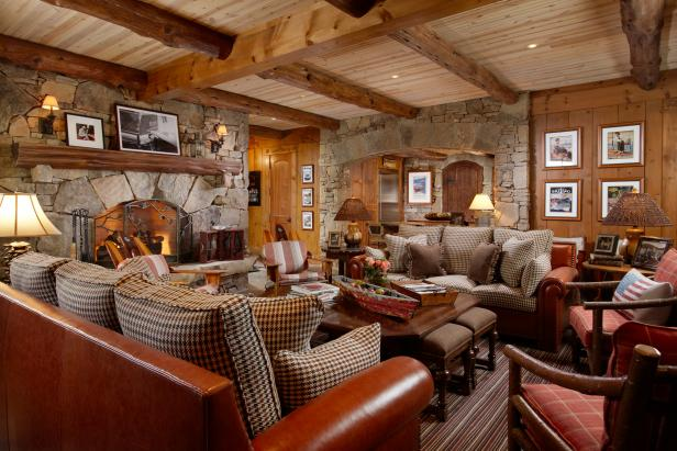 Living Room: Luxe Lakefront Cabin in Tiger, Ga.