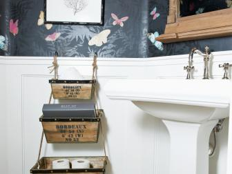 Small Bath With Cute Storage Boxes