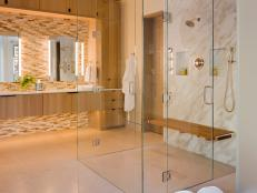 Contemporary Bathroom With All-Glass Custom Shower