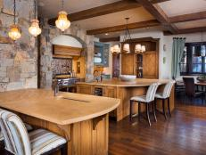 Eat-In Rustic Kitchen With Stone Accent Wall