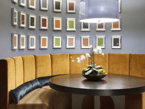 Contemporary Blue Basement Dining Area