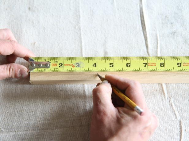 "Measure wood dowel at 4"" from each end, and mark before drilling holes."