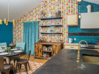 Bold, Colorful Wallpaper in Vintage-Inspired Kitchen