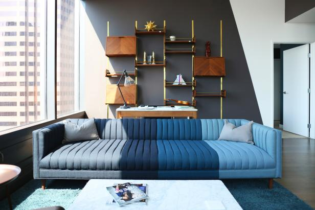 Blue Midcentury Sofa and Wood Shelving