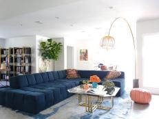 Multicolored Eclectic Living Room With Arc Light