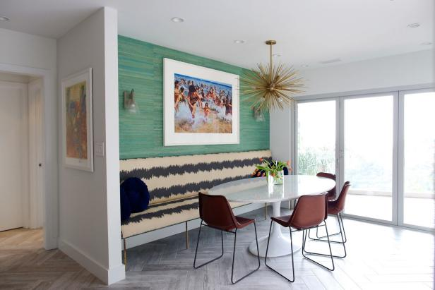 Multicolored Eclectic Morning Room With Banquette