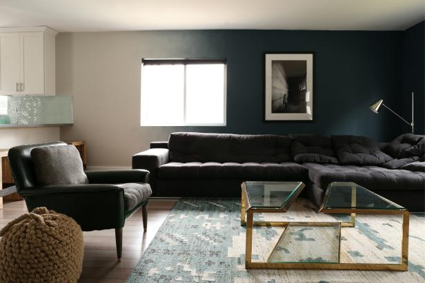 Black and Blue Contemporary Craftsman Living Room