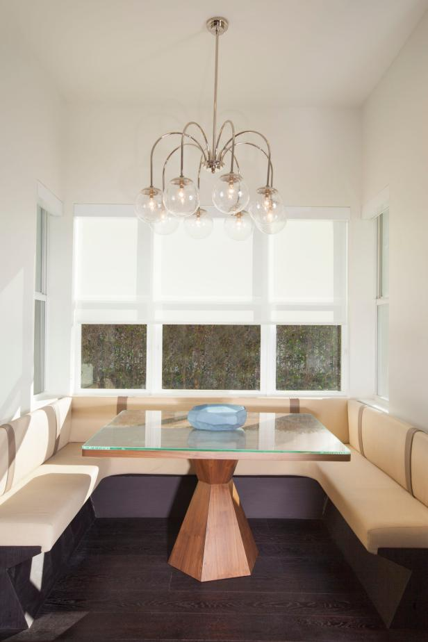 Contemporary Dining Nook With Geometric Table & Bench Seating