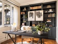 Elegant Home Office Includes Charred Wood Writing Desk