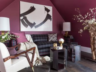 Wine Tones Adorn Walls, Details in This Lounge Area