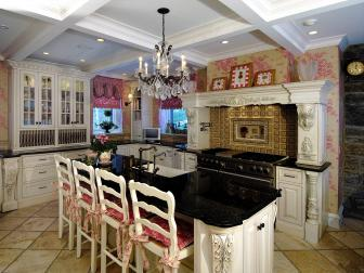 Pink Shabby Chic Kitchen with Formal Touch