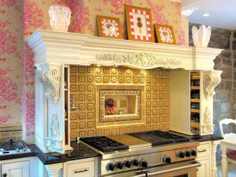 Shabby Chic Kitchen Boasts Elegant White Cooktop Mantel