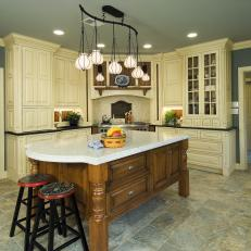 Lovely Blue Kitchen With Prep Island Cream Cabinetry