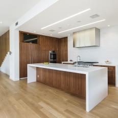 White Modern Kitchen With Zebra Wood Cabinets
