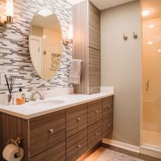 Contemporary Bathroom With Floating Woodgrain Vanity