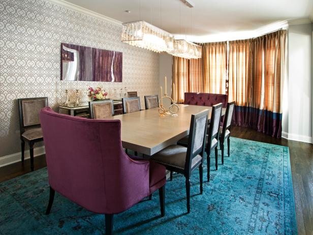 Dining Room With Bold Turquoise Rug Amp Purple Tufted End