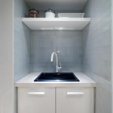 White Sink With Gray Subway Tile Backsplash