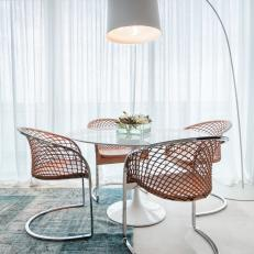 White Dining Table With Chairs And Arc Floor Lamp
