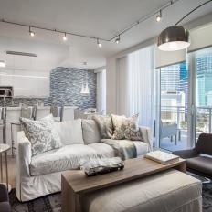 Neutral Contemporary Open Plan Condo Living Room