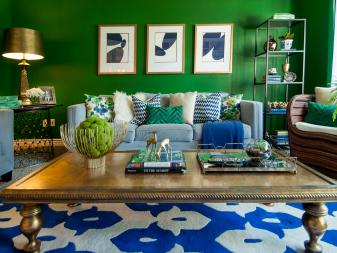 Bright Green Living Room With Royal Blue Accents & Sky Blue Sofa