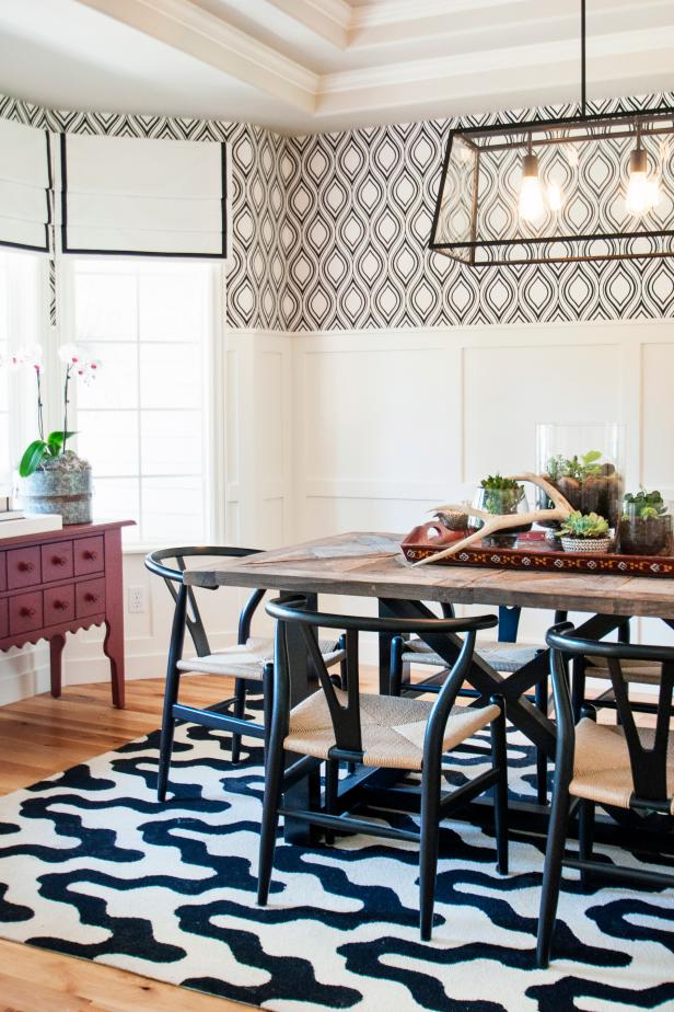 Black and White Dining Room Features Funky Patterns