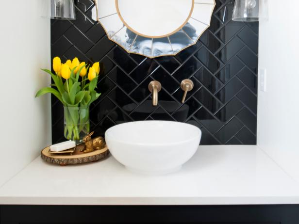Powder Room Featuring a Black Tile Wall  Art Deco Mirror and White Bowl Sink. Bathroom Design Photos   HGTV