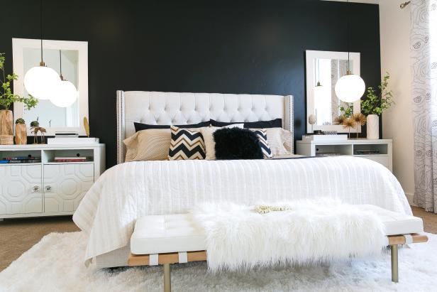 Black, White and Neutral Bedroom With Lush Furnishings