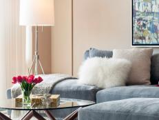 Contemporary Living Room Features Gray Velvet Sofa
