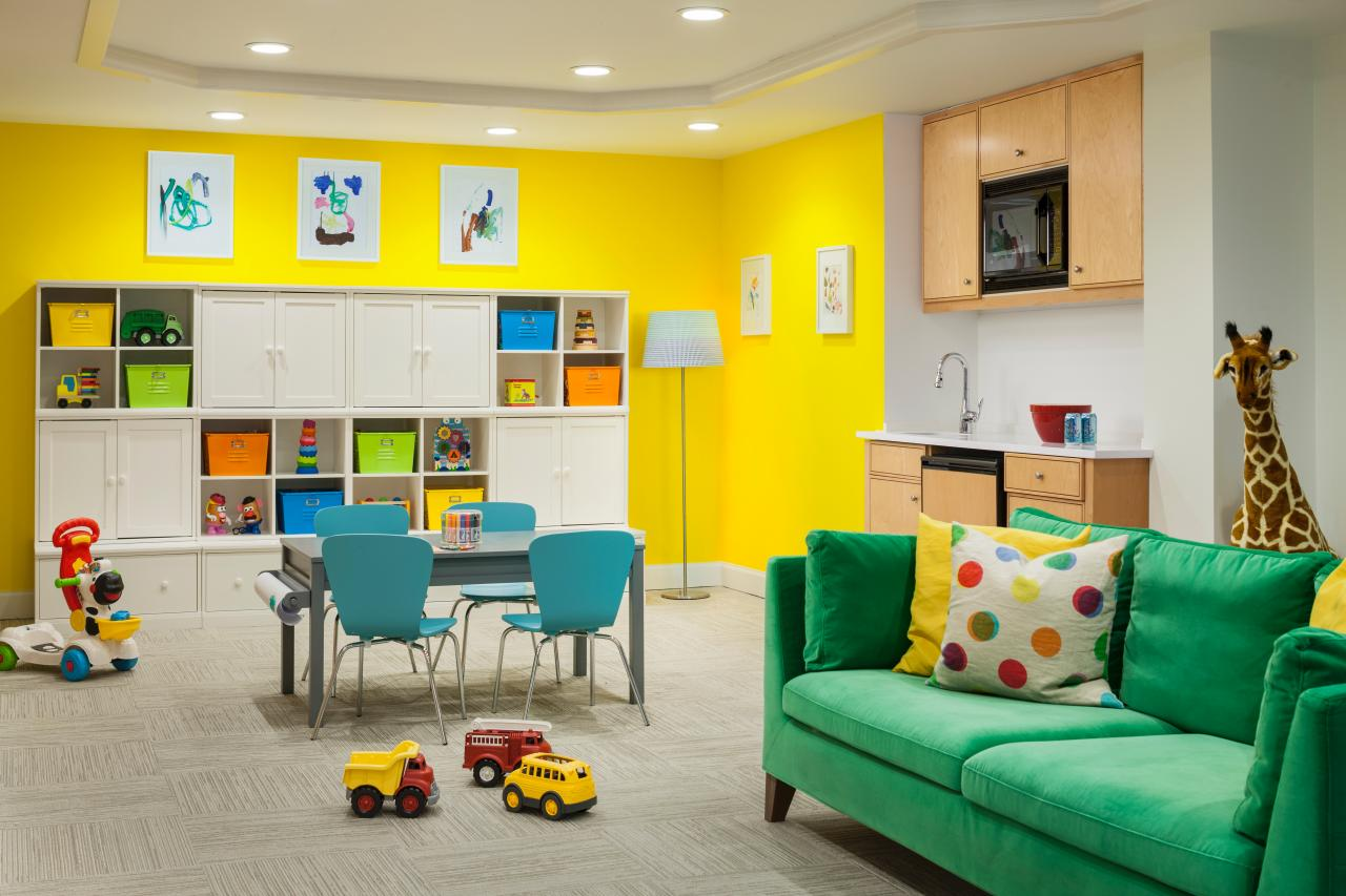 beautiful happy bold kids basement playroom.