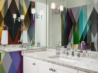 Bold Multicolor Wallpaper in Modern Powder Room