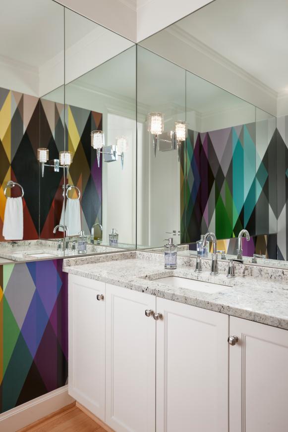 Bold Multicolor Wallpaper in Modern Powder Room