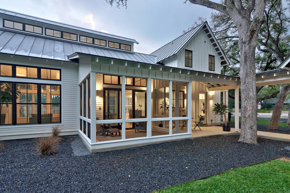 Updated modern white farmhouse tim brown architecture hgtv for Houses with screened in porches