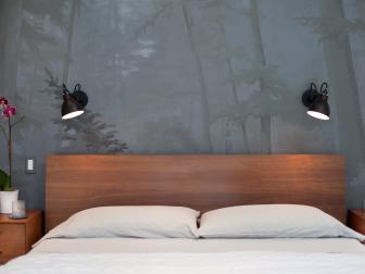 Mural Behind Bed in Modern Bedroom