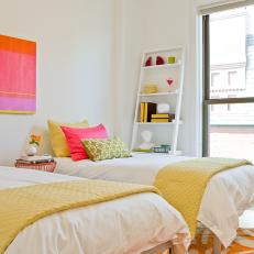 Multicolored Transitional Bedroom With Twin Beds