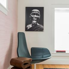 Modern Black Leather Chair and Pink Wall