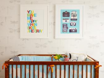 Multicolored Nursery With Dragonfly Wallpaper