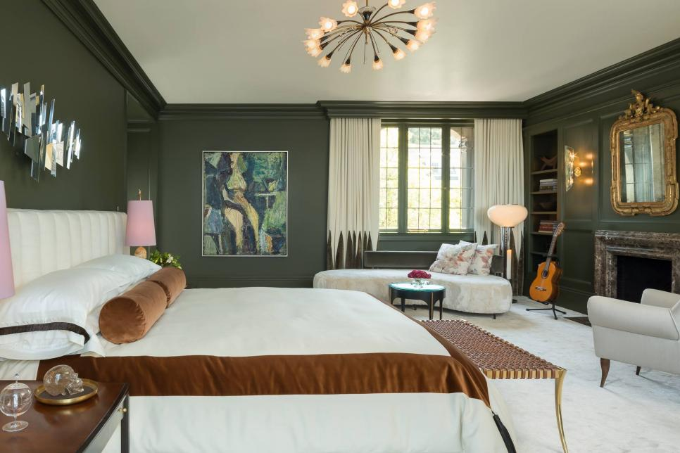Sexy master retreat balances masculine with feminine wick design hgtv Brown and green master bedroom ideas