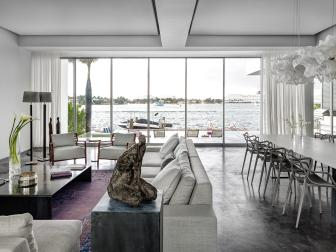 White Modern Living Area With Bay View