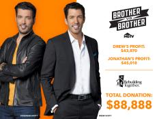 Jonathan defeated Drew in the first-ever <i>Brother Vs. Brother: Jonathan Vs. Drew</i> competition, with all the proceeds from both sales going to Rebuilding Together.